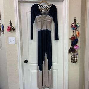 NWOT  long sleeve, crochet back, sky dress